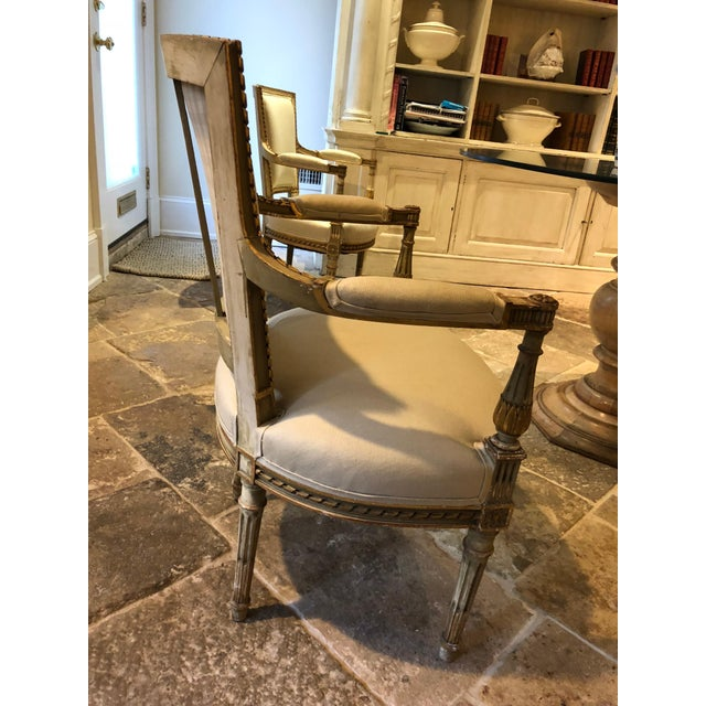 Wood Painted and Gilt Napoleon III Fauteuils - Set of 4 For Sale - Image 7 of 13