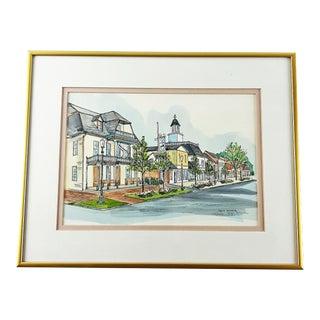 "1980s ""Florida Shops"" Town Scene Print Numbered 170-200 by Joyce Warner, Framed For Sale"