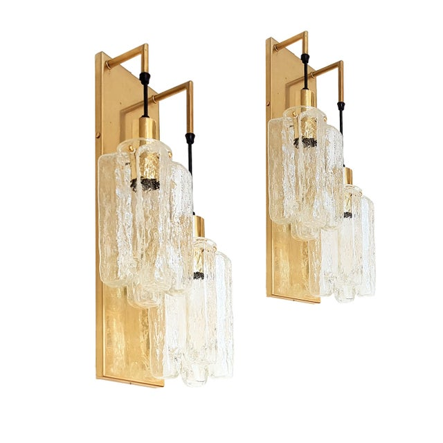 Murano Glass Kalmar Brass Mid Century Modern 2-Lights Sconces - a pair For Sale - Image 9 of 9