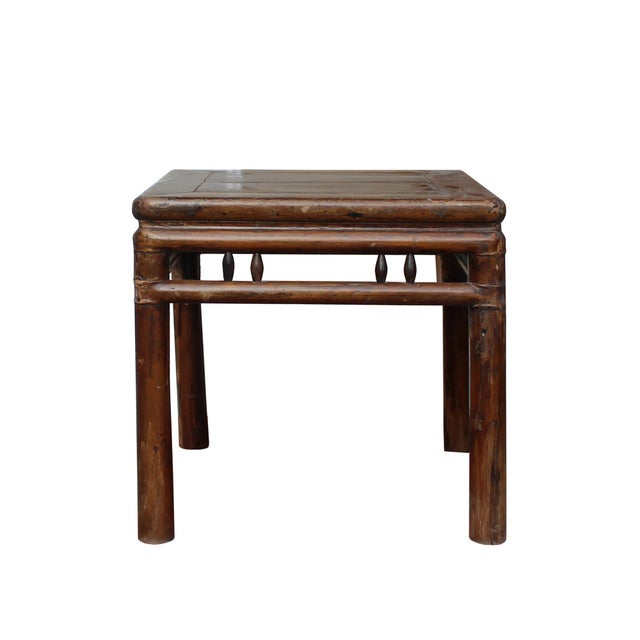 Chinese Handmade Vintage Finish Square Wood Stool Table For Sale In San Francisco - Image 6 of 6