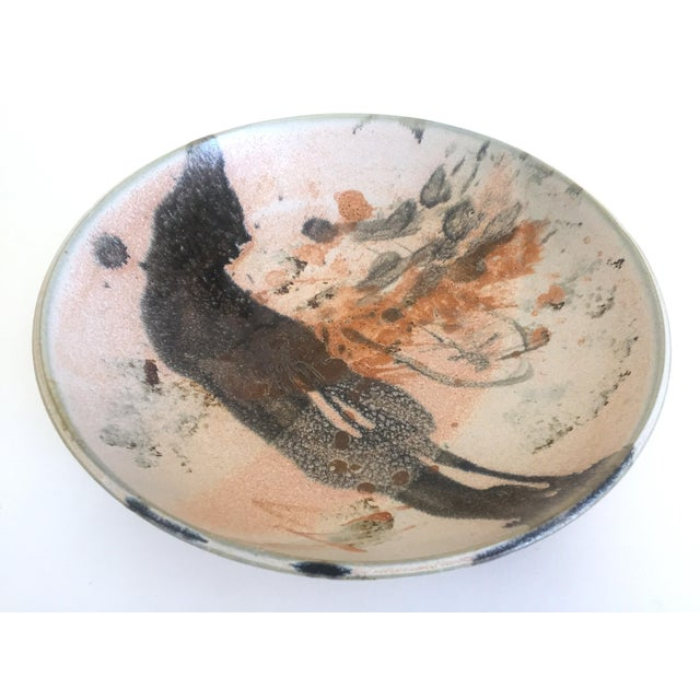 Abstract Expressionism Vintage Mid Century Modern Studio Pottery Abstract Expressionist Signed Ceramic Bowl For Sale - Image 3 of 13