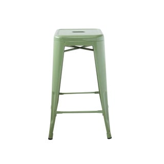 Mid Century Classic Green Metal Stool For Sale