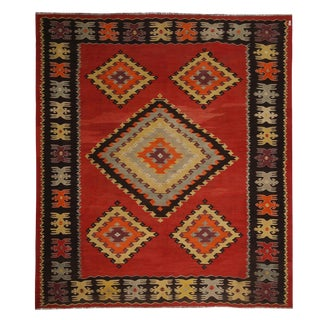 Vintage Mid-Century Sarkoy Red Wool Kilim Rug With Diamond Pattern For Sale