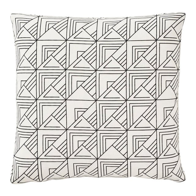 Schumacher Frank Lloyd Wright St. Marks Check Print Black & White 18 X 18 Pillow - Pair For Sale