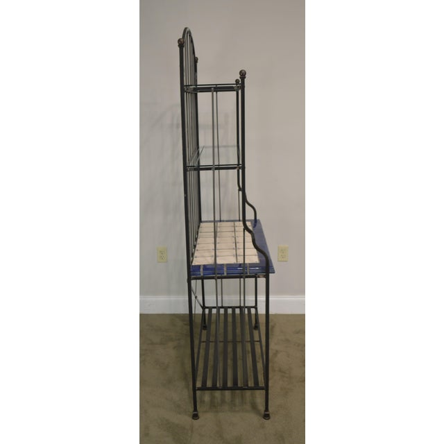 Quality Hand Forged Iron Bakers Rack With Tile Shelf For Sale In Philadelphia - Image 6 of 9