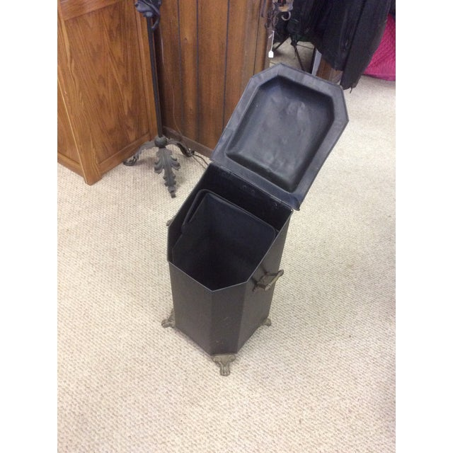 Brass Antique Coal or Ash Bin/Scuttle For Sale - Image 7 of 9