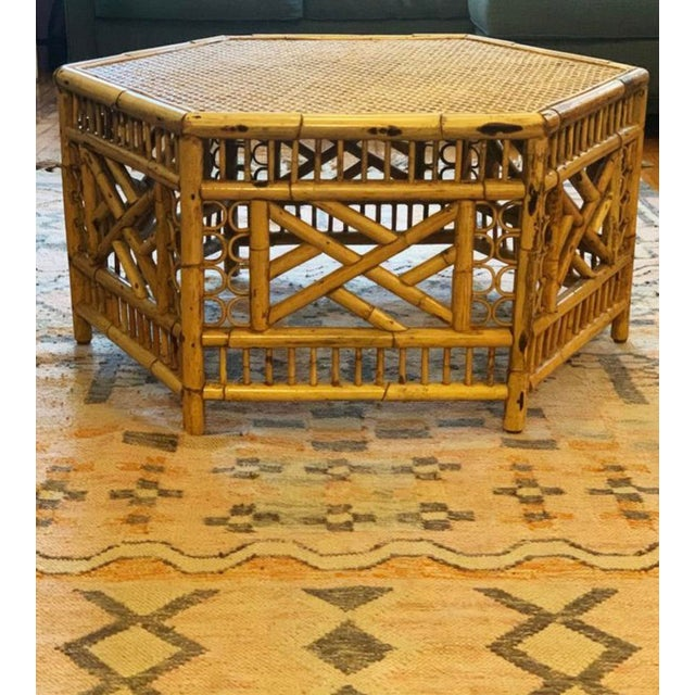 Vintage Mid-Century Boho Chic Rattan Coffee Table For Sale In Chicago - Image 6 of 7