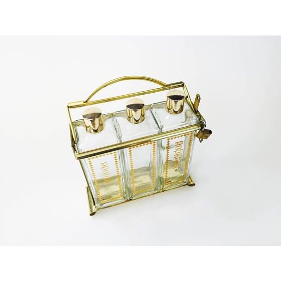 Mid-Century Modern Mid Century Brass Locking Decanter Set For Sale - Image 3 of 6