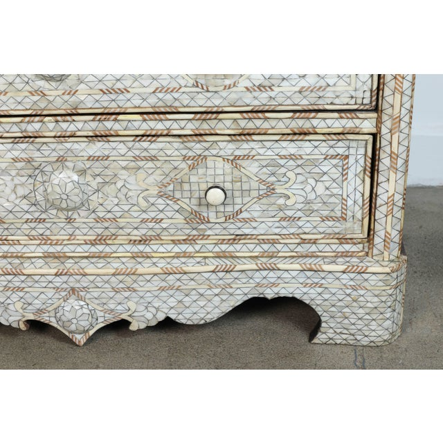 20th Century Syrian White Mother-Of-Pearl Inlay Wedding Dressers - a Pair For Sale - Image 4 of 10