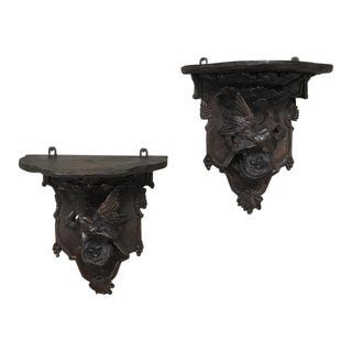 Pair 19th Century Black Forest Wall Sconces For Sale