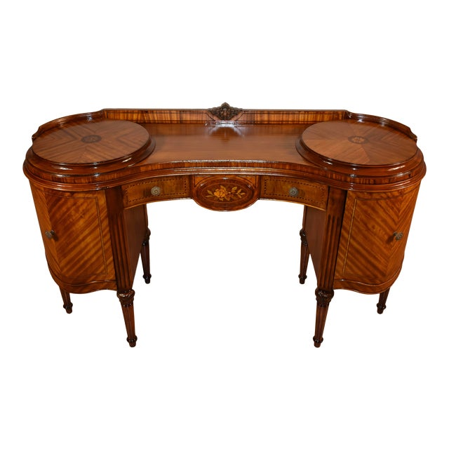 1900s Antique French Louis XVI Satinwood & Walnut Inlay Vanity For Sale