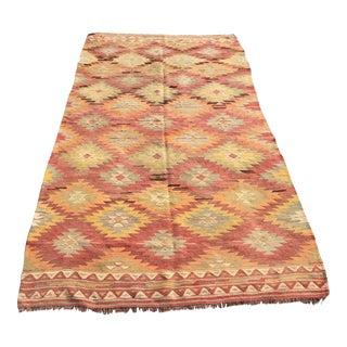 """Vintage Turkish Kilim Rug -- 4'10"""" x 9'"""