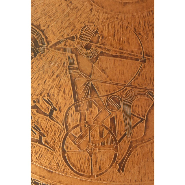 Wood 20th Century Egyptian Copperstyle Engraved Top Center Table For Sale - Image 7 of 11