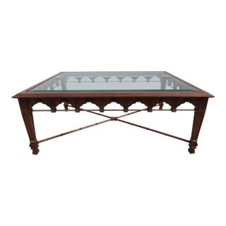 20th Century Hollywood Regency Glass Top Coffee Table With Brass Accents For Sale