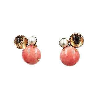 Schreiner Cabochon Faux-Coral Earrings For Sale