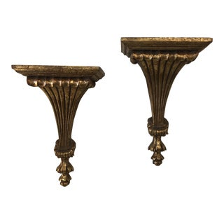 Vintage Hollywood Regency Gold Wall Shelves - A Pair For Sale