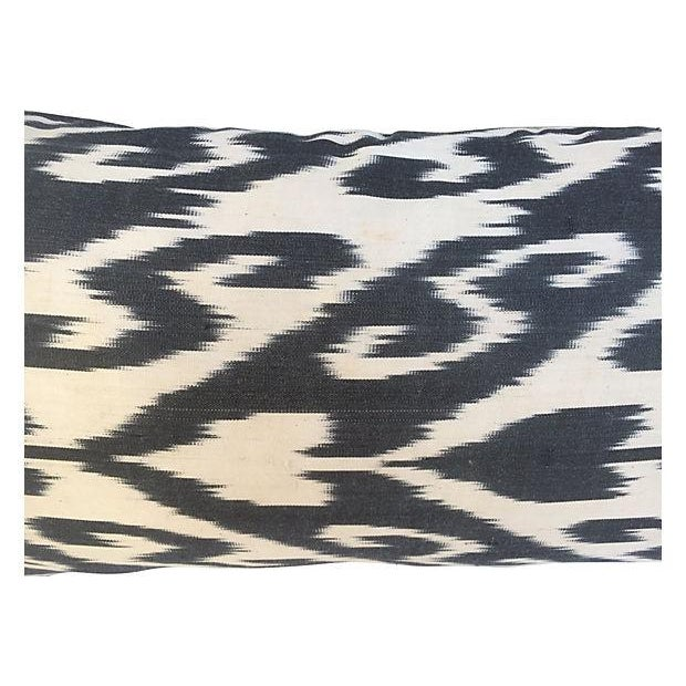 Contemporary Black & White Silk Ikat Pillow For Sale - Image 3 of 4