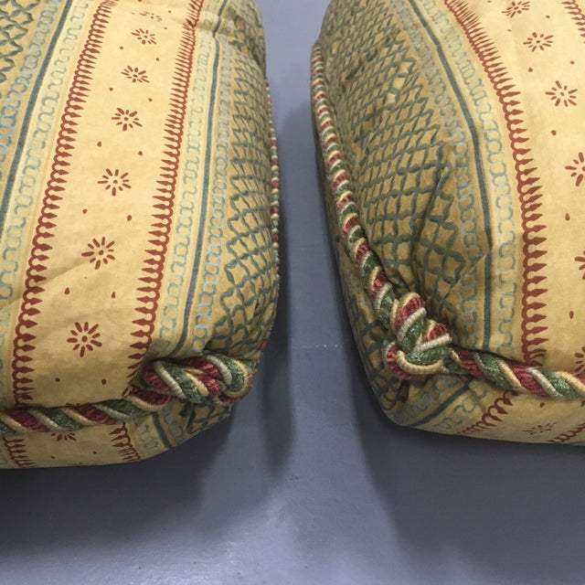 "Pair of Chic Osborne & Little Striped Fabric 22"" Overstuffed Down-Filled Pillows with M&J Trimming Rope Trim and Russian-..."