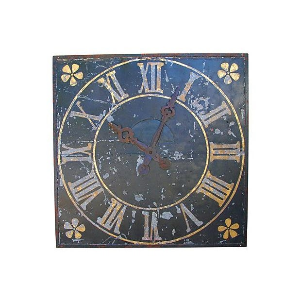 "X-Large Stunning Antique French Iron & Gilt Tower Clock Face 79"" Square For Sale - Image 4 of 9"
