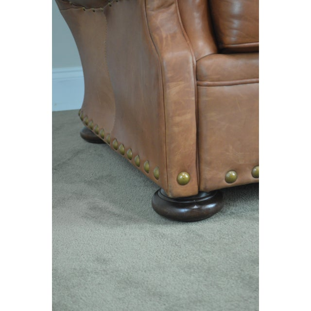 Brown Tufted Leather Writers Club Chair (A) For Sale - Image 9 of 13