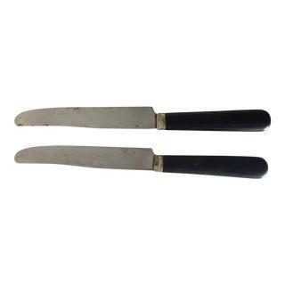 """Black Bakelite Handle Pair (2) Knives 9"""" For Sale"""