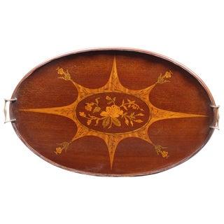 Antique English Mahogany Inlaid Oval Tray, circa 1900 For Sale