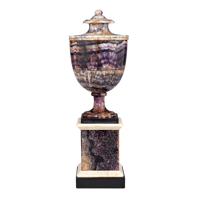 The bold and dramatic coloring of this extraordinary Blue John urn is beautifully matched by its neoclassical design. Blue...