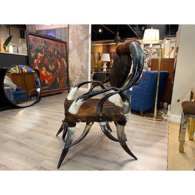 American Western Horn Chair For Sale - Image 3 of 10