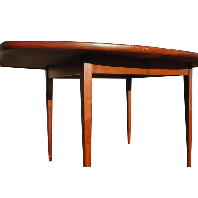 1970's Danish Modern Walnut Extendable Dining Table For Sale - Image 10 of 13