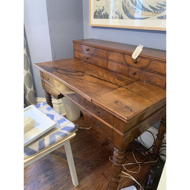 Antique French Louis Philippe Walnut Desk 19th C For Sale - Image 12 of 12