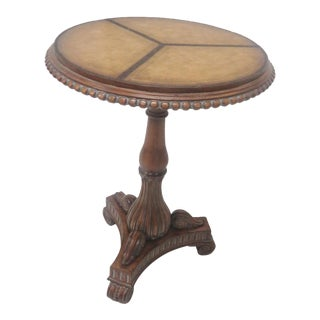 Regency Leather Top Side Table
