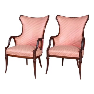 Vintage Art Deco Style Mahogany Armchairs - a Pair For Sale