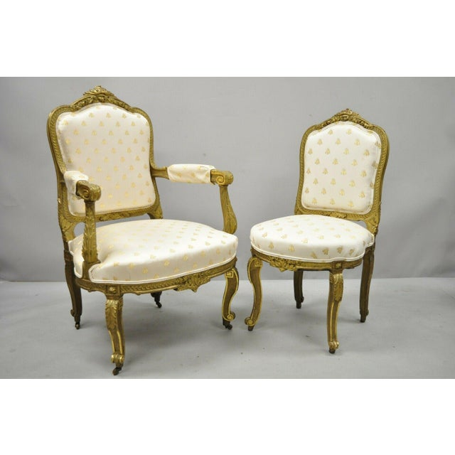 French 19th Century French Louis XV Style Gold Gilt Wood Parlor Salon Suite - 3 Pieces For Sale - Image 3 of 13