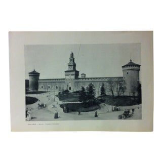 "Circa 1930 ""Castello Sforzesco"" Print of Milano Italy For Sale"