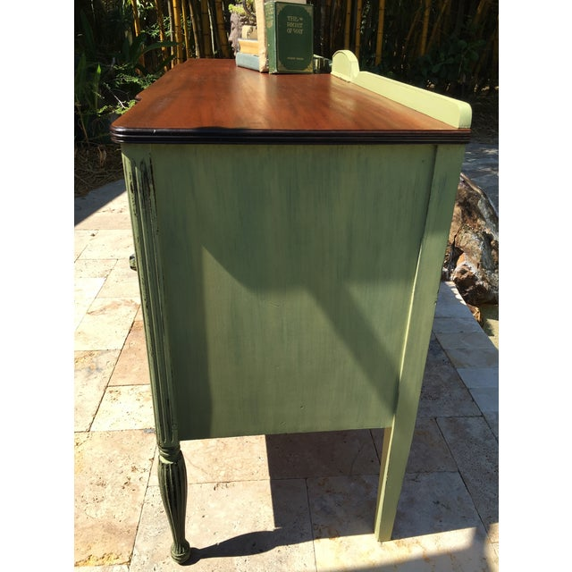 Vintage Green Milk Paint Buffet Sideboard Credenza For Sale - Image 6 of 11