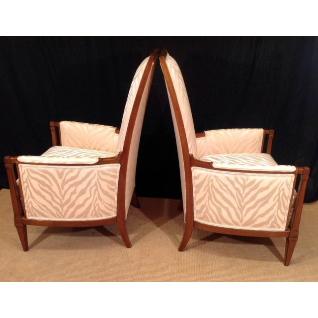 Early 20th Century Mid-Century Modern Upholstered Walnut Bergeres - a Pair For Sale - Image 5 of 6
