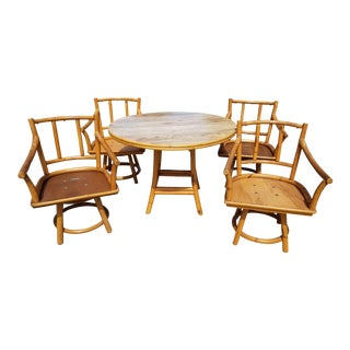 Vintage Mid Century Modern Ficks Reed Bamboo Rattan Dining Set - 5 Pieces For Sale