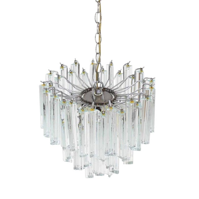 Medium Size Venini Glass Prisms Camer Light Fixture For Sale