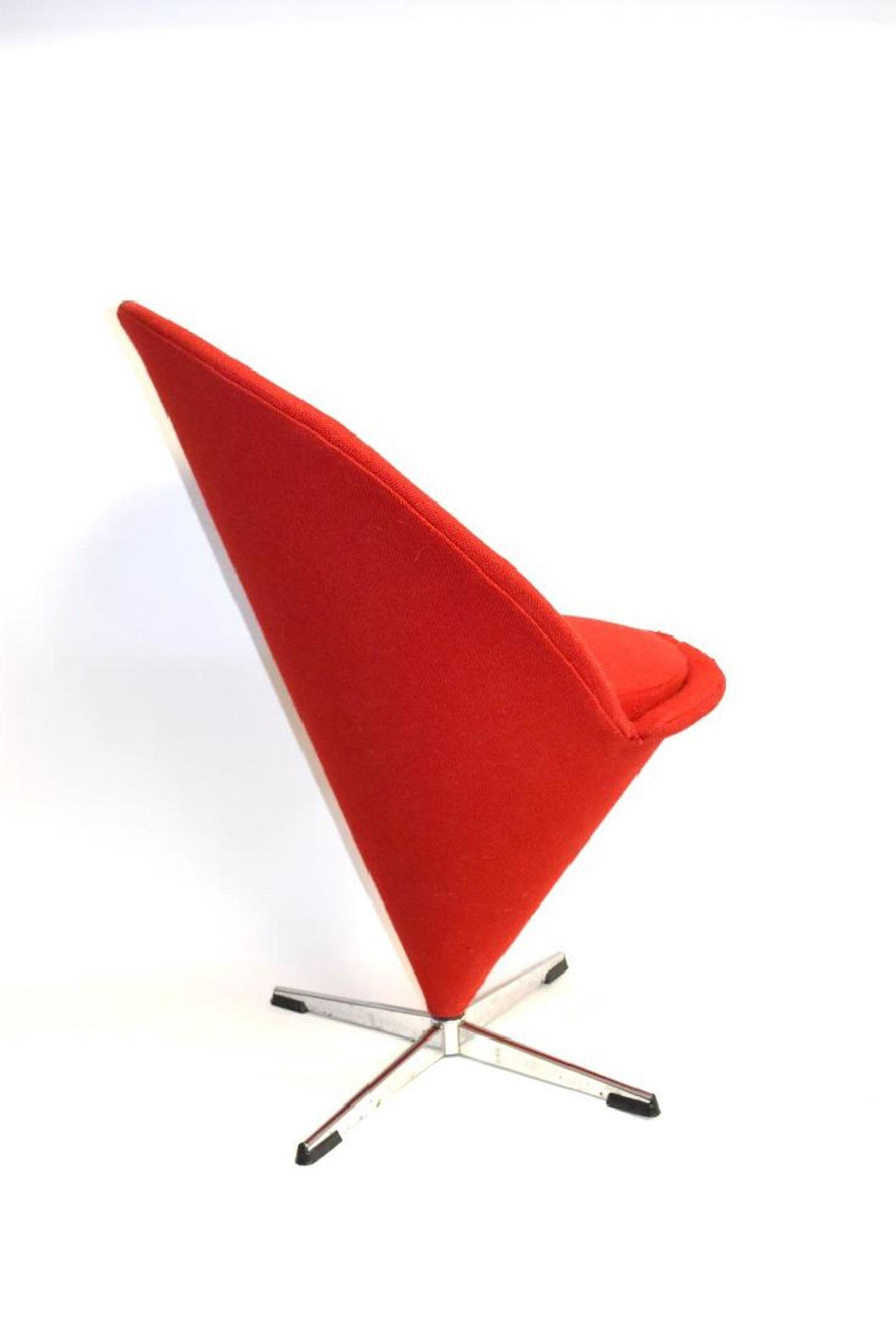1958 Red Verner Panton Cone Chair   Image 3 Of 5
