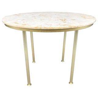 Round Marble Top and Brass Center Table For Sale