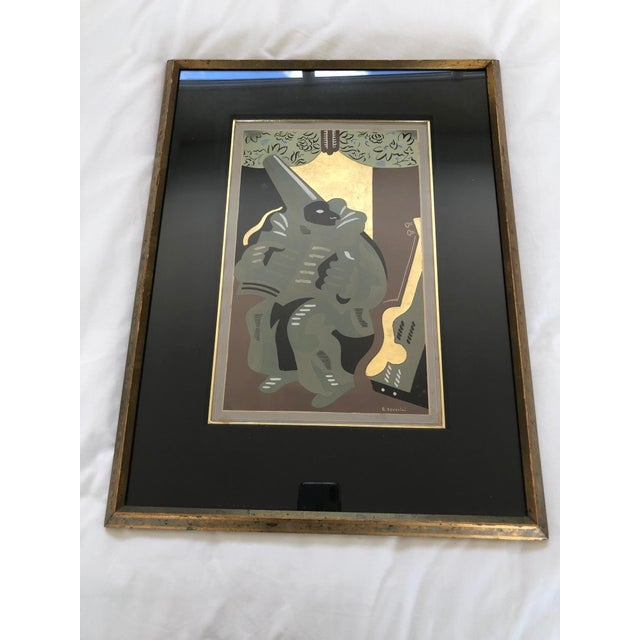 "Art Deco ""Polichinelle With a Book"" Pochoir Gold Leaf Lithograph by G. Severini For Sale - Image 3 of 5"