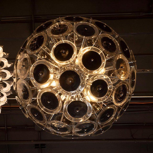 Early 21st Century Modernist Polished Nickel Vistosi Chandelier With Handblown Murano Black Discs For Sale - Image 5 of 7