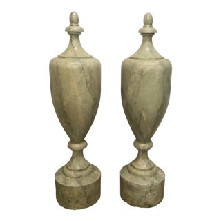 19th Century Painted Faux Marble Finials - a Pair For Sale