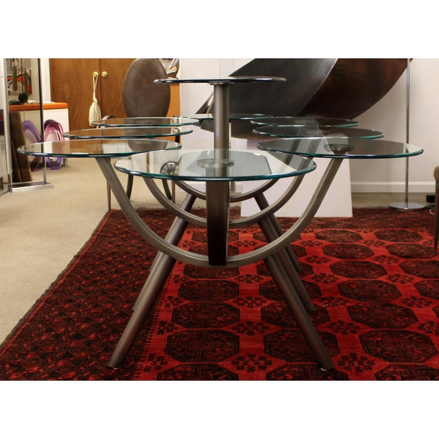 Contemporary Modern Glass & Steel Banquet Dining Table Dia 1980s Circle of Life For Sale In Detroit - Image 6 of 12