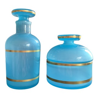 Vintage Carlo Moretti Cenedese Opaline Blue Glass Murano Vanity Bottles - a Pair For Sale