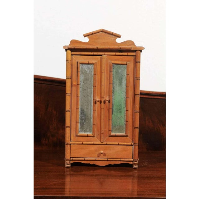 Antique French Miniature Pine Armoire For Sale - Image 9 of 10