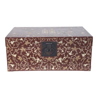 Chinese Burgundy and Gold Vine Design Painted Decorative Box For Sale