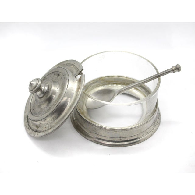 Traditional Match Italian Pewter & Glass Jam or Sugar Jar With Spoon For Sale - Image 3 of 6
