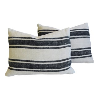 "Charcoal Gray/Black Striped French Grain Sack Feather/Down Pillows 26"" X 18"" - Pair"