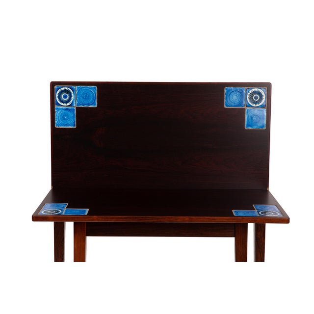 1960s Danish Modern Illums Bolighus Rosewood and Blue Tile Folding Table For Sale - Image 5 of 7